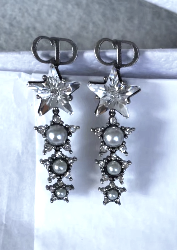 Primary image for Authentic Christian Dior 2018 LIMITED EDITION CRYSTAL STAR LONG EARRINGS