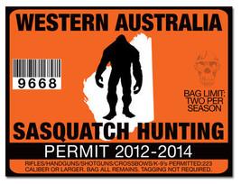 Sasquatch hunting permit license decal sticker honda for Colorado fishing license walmart