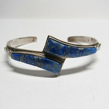 VTG Sterling Silver Natural Lapis Lazuli By Pass Cuff Bangle Bracelet 18... - $39.60