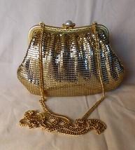 Vintage 1980s Whiting Davis International Gold Mesh Evening Bag Shoulder... - $125.00