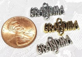 GRANDMA DOUBLE LOOP FINE PEWTER CONNECTOR CHARM - 20mm L x 11mm W x 2mm D image 2