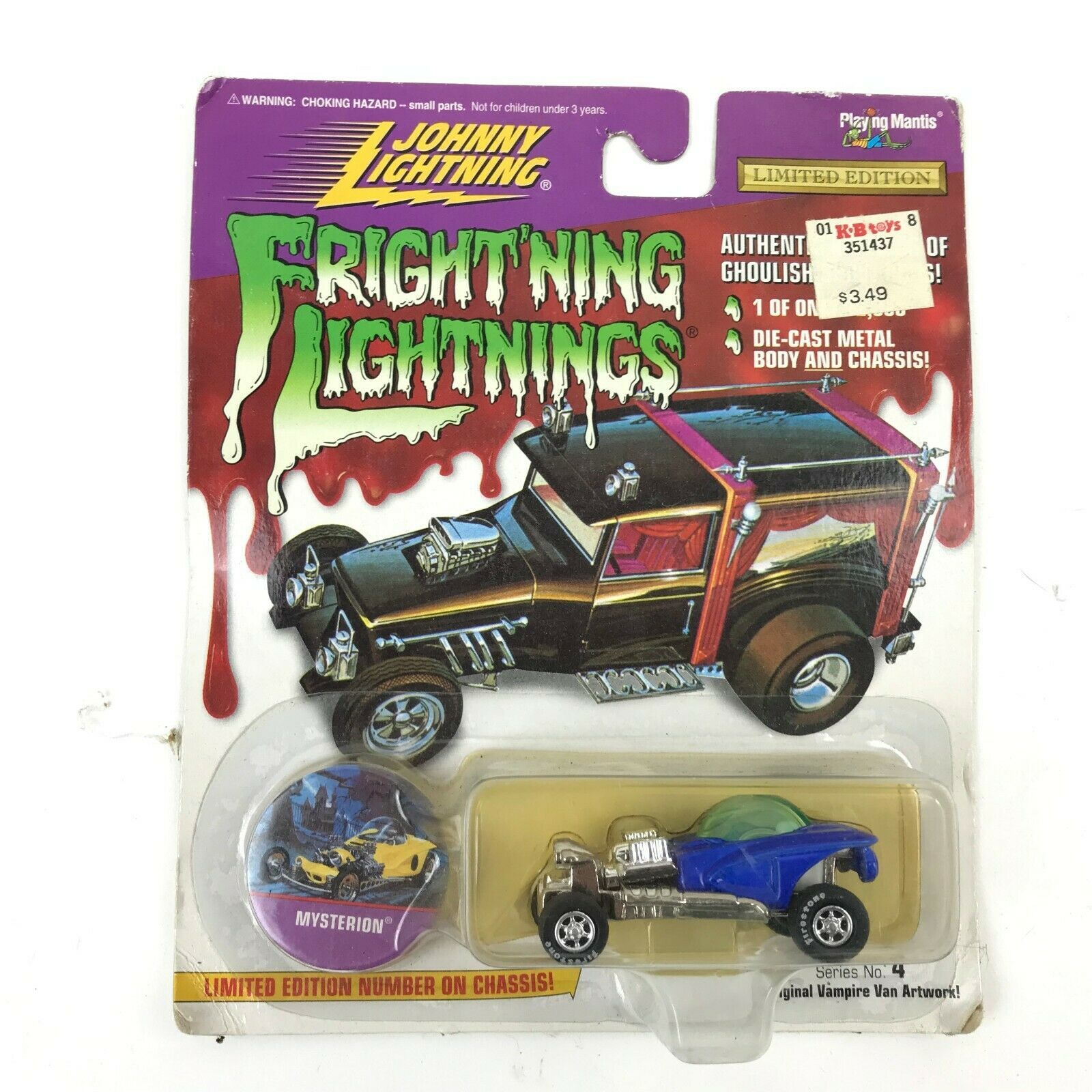 Primary image for Vtg 90s Johnny Lightning Frightning Lightnings MYSTERION Limited Die Cast- Blue