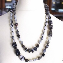 Long Necklace 120 cm, 1.2 Metres, White Agate Black Grey Banded image 2