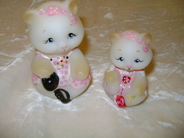 FENTON GLASS WHITE  GLASS MOTHER & BABY BEAR SET HAND PAINTED  - $87.07