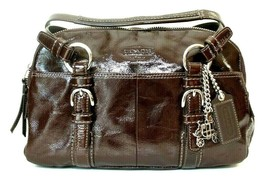 COACH Brown Patent Leather Satchel Shoulder Handbag #12688 - $51.07