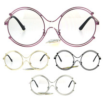 Womens Art Deco Futurism Oversize Round Funky Eye Glasses - $12.95
