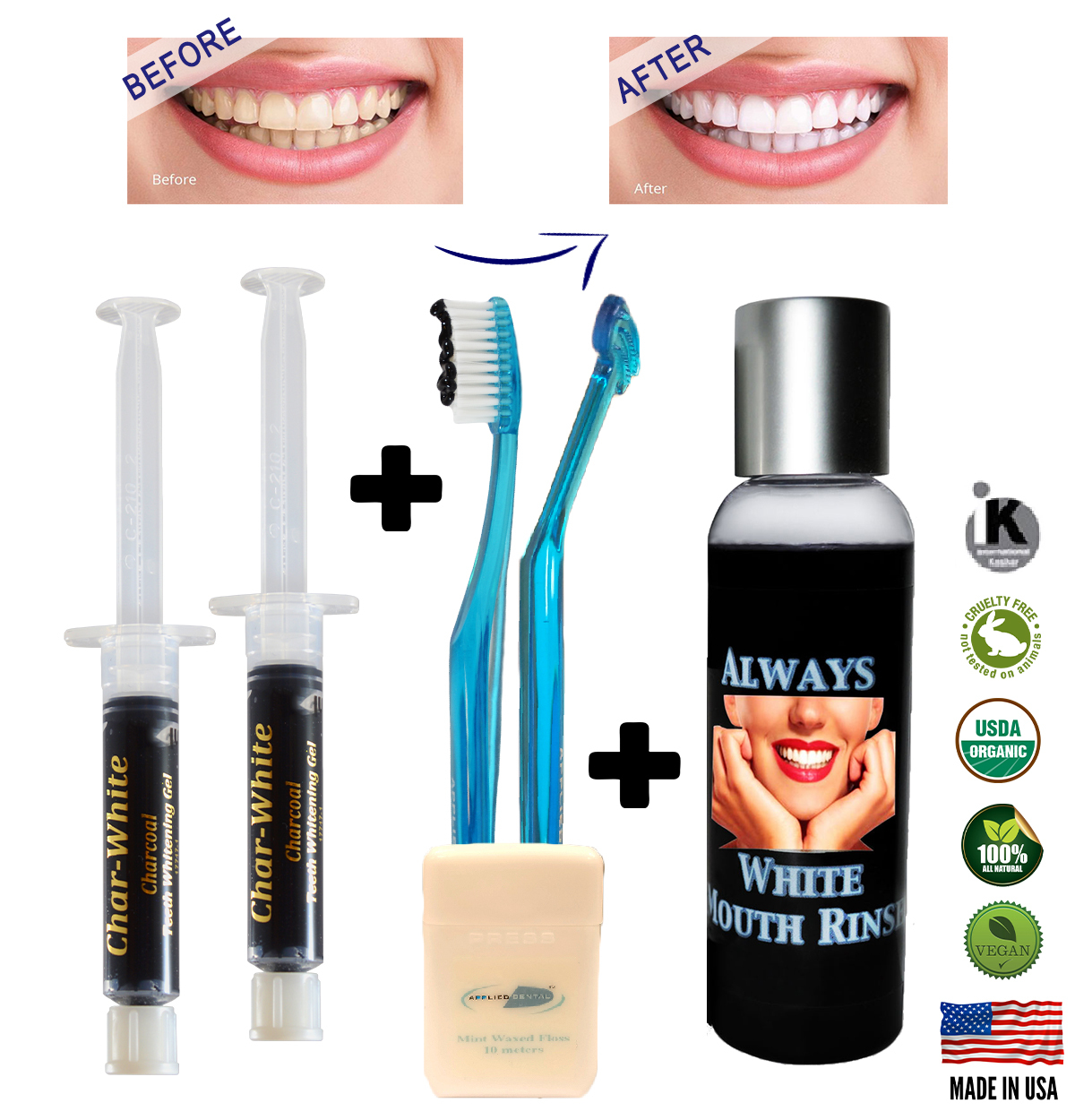 New Organic Fresh Mint Activated Charcoal Natural Teeth Whitening Gel Usa Made  - $14.45