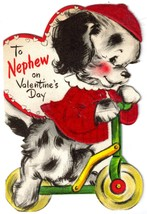 Vintage HALLMARK Flocked Valentine Card to Nephew - PUPPY on SCOOTER - $15.00
