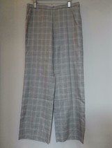 New GIORGIO ARMANI Grey Multi Color Wool Silk Linen Check Pants 46/12 Italy - $145.49