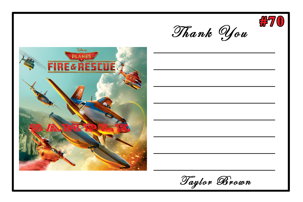 Disney Fire & Rescue Birthday Thank You Cards 10 ea Personalized Custom Made