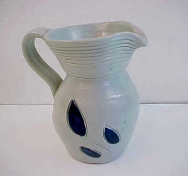 Williamsburg Pottery Handcarved Cobalt Salt Glaze Mini Pitcher
