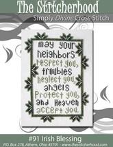 Irish Blessing primitive cross stitch chart The Stitcherhood - $8.10