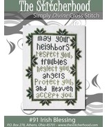 Irish Blessing primitive cross stitch chart The Stitcherhood - $8.10