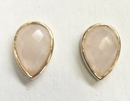 Daniela Swaebe 18K Gold-Plated Faceted Rose Quartz Drop Pear Shape Post Earrings