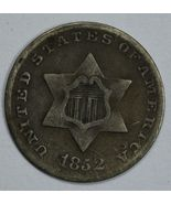 1852 3 cent circulated silver coin F details - $55.00