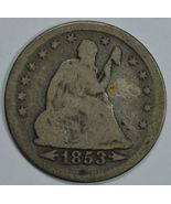 1853 Seated Liberty quarter dollar coin with arrows & rays  G details - $20.00