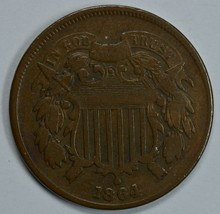 1864 Shield 2 cent circulated coin VG details - $27.50