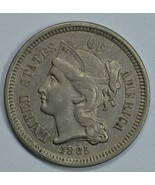 1865 3 cent circulated copper nickel - XF details - $45.00
