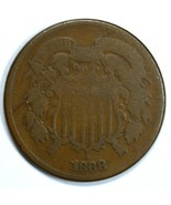 1868 Shield 2 cent circulated coin G details - $19.00