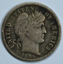 1906 Barber circulated silver dime F details - $12.00