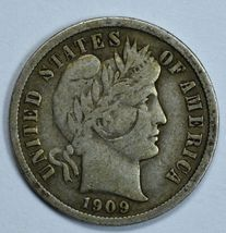1909 Barber circulated silver dime F details - $12.00