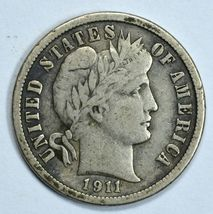 1911 Barber circulated silver dime F details - $12.00