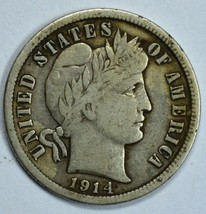 1914 Barber circulated silver dime F details - $12.00