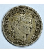 1914 D Barber circulated silver dime F details - ₨906.00 INR