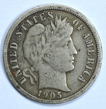 1905 Barber circulated silver dime VF details - $17.00