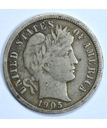 1905 Barber circulated silver dime VF details - $22.50 CAD