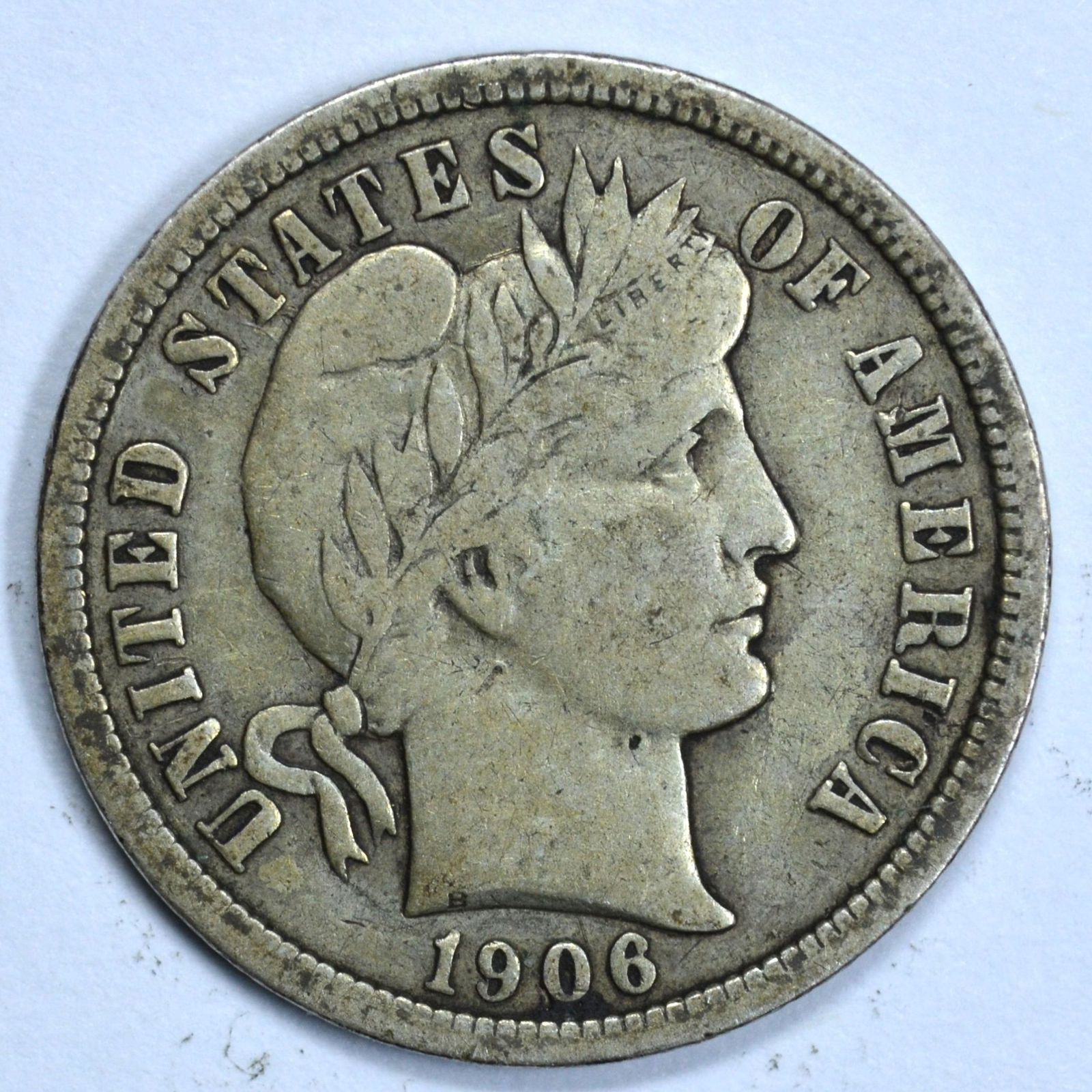 1906 Barber circulated silver dime VF details