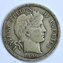 1906 Barber circulated silver dime VF details image 1
