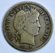 1907 Barber circulated silver dime F details - $13.25