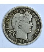 1908 D Barber circulated silver dime VF details - €17,06 EUR