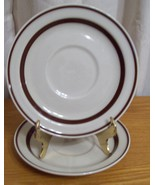 Lot of Two Orbit Stoneware 221 Brown Saucers - $9.88