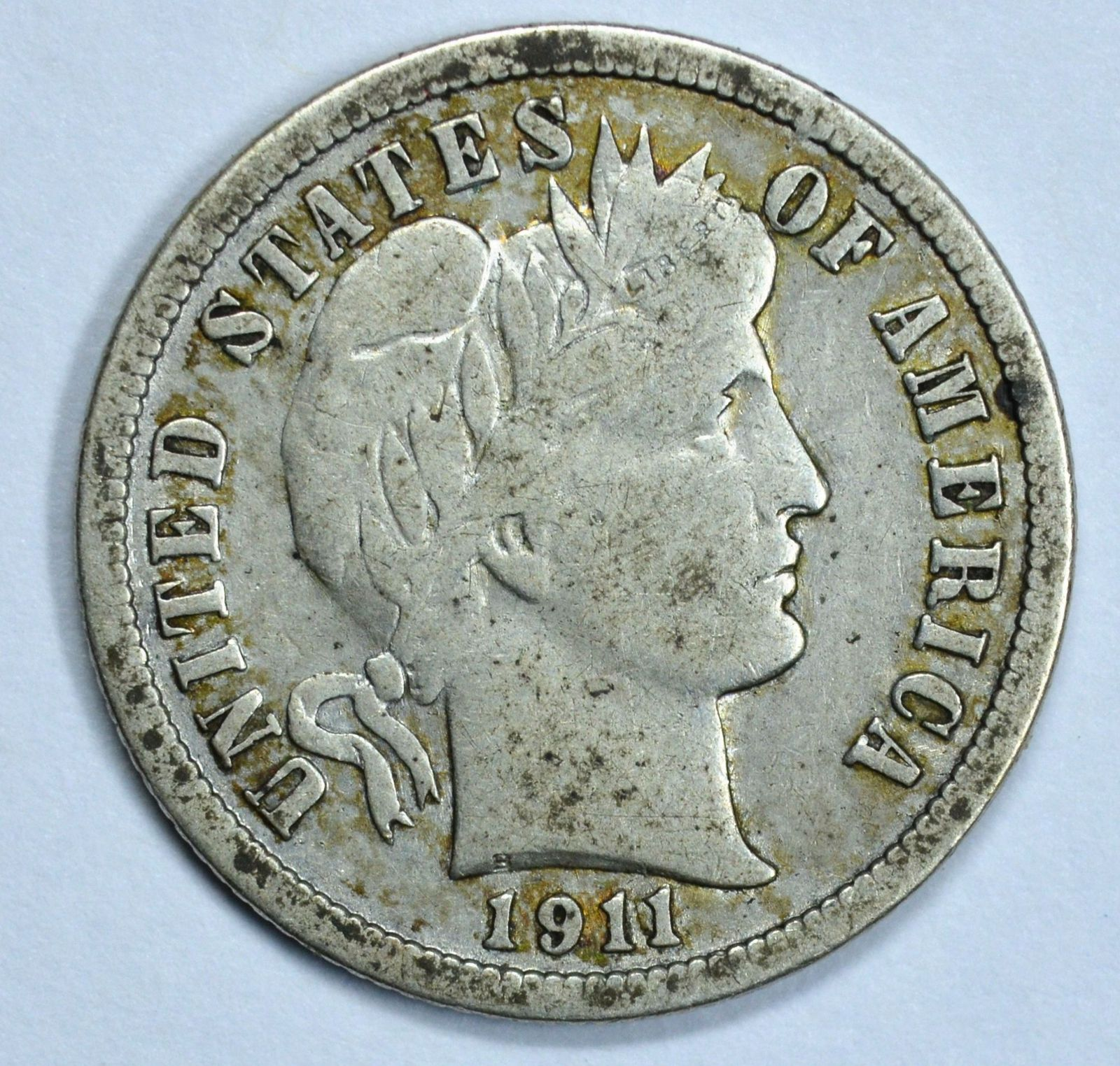 1911 Barber circulated silver dime VF details - $16.00