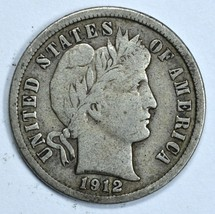 1912 D Barber circulated silver dime VF details - $17.25