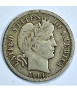 1914 D Barber circulated silver dime VF details - €15,31 EUR