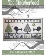 Birds Of A Feather primitive cross stitch chart The Stitcherhood - $8.10