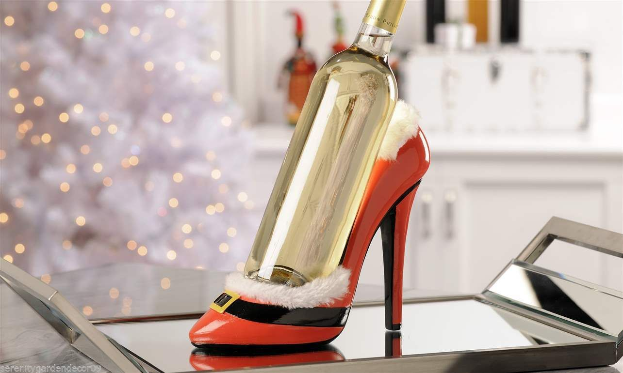 Santa Christmas Stiletto Shoe Wine Bottle Holder Red & Black Polystone NEW