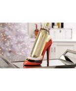 Santa Christmas Stiletto Shoe Wine Bottle Holder Red & Black Polystone NEW - $32.66