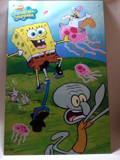 Spongebob Squarepants 15.75 x 10.25 Metal Wall Tin Artwork #1 * Nickelodeon