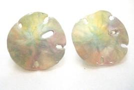"Pastel Tie Dye Sand Dollar Disk Clip On Earrings Vintage 1970-80's 1.25"" Diamete - $7.19"