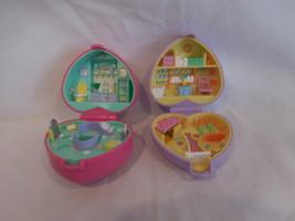 Polly Pocket Bluebird Pink Heart Bathtime Bath Time Fun + Purple  Bunny Compact - $43.01