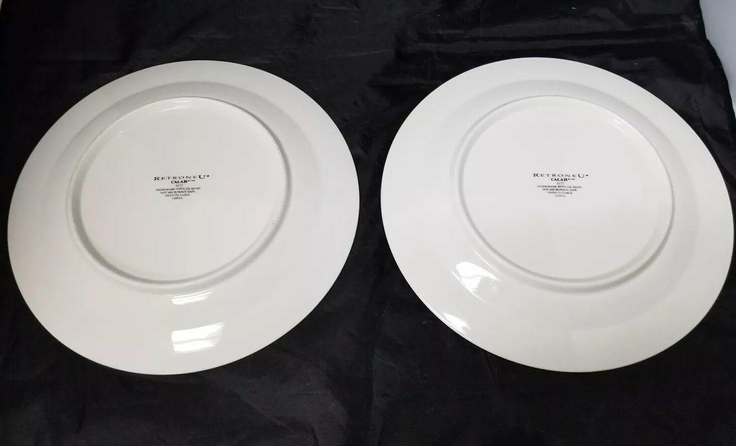 """Retroneu Calais Dinner Plates Set of 2, 10.5"""" White w Gold Trim 4173 image 8"""