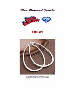 Large Flat Big Oval Silver Plate Hoop Earrings USA SELLER FAST SHIPPING - $9.75