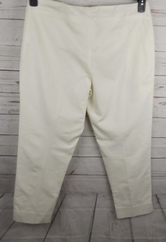 Ellen Tracy Cropped Pants Size 8 Off White Stretch