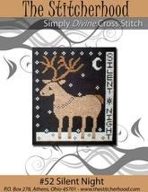 Silent Night primitive reindeer cross stitch chart The Stitcherhood - $8.10