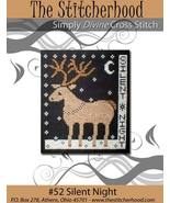 Silent Night primitive reindeer cross stitch chart The Stitcherhood - $8.10