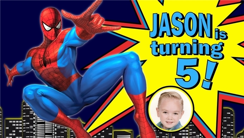 "Primary image for Spiderman ""Swing"" Custom -Personalized- Vinyl Birthday Banner Decoration w/Photo"